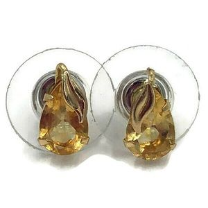 10 Carat Gold Citrine Pear Shaped Studs W Leaves